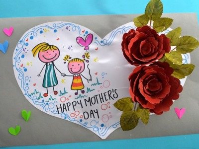 DIY Mother's Day card. handmade the roses card for Mom. For kids.Flores de Papel