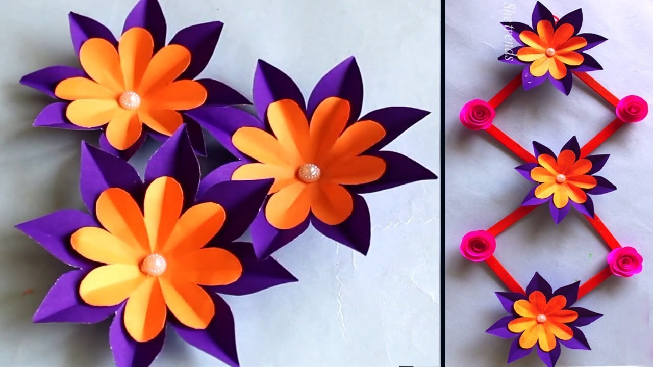 DIY Wall hanging craft ideas with paper flower || beautiful Paper flower wall hanging || wall decor