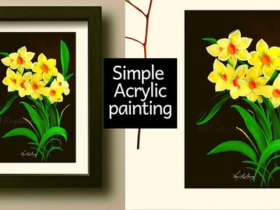 Easy acrylic painting tutorial | how to paint spring daffodils flowers | Step by Step art painting