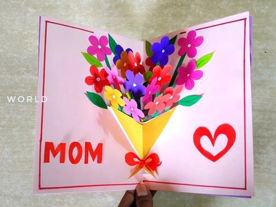 Handmade Mother's Day card. Mother's Day pop up card making- flower bouquet pop up card