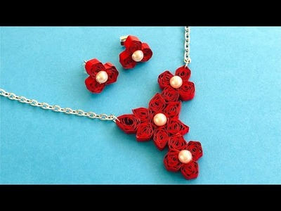 How To Make Quilling Necklace At Home | Quilling Necklace Tutorial | Quilling Jewellery