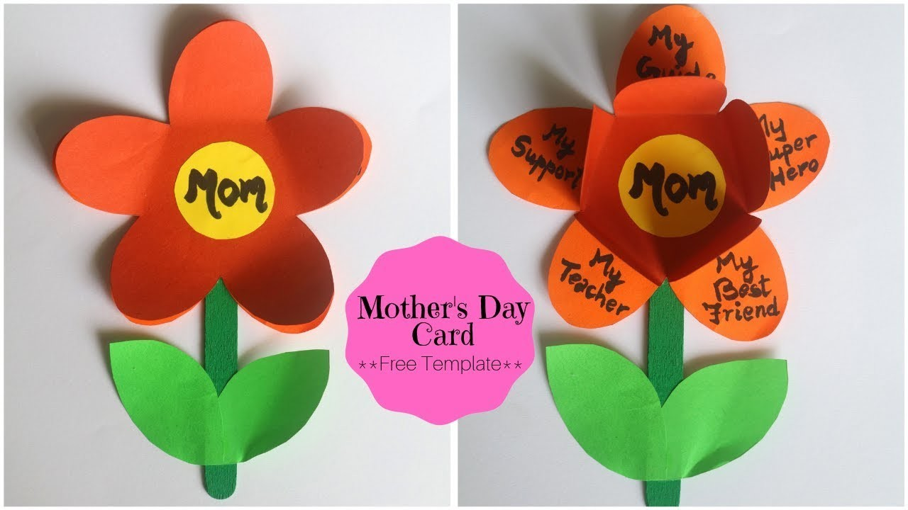 Mothers Day Card EASY | Handmade Greetings Card with Free Flower Template | Little Crafties