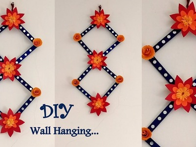 Pop stick Wall decor idea | Easy Wall hanging. | DIY Wall Hanging. !!