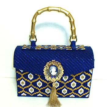 Royal Blue & Gold Handbag