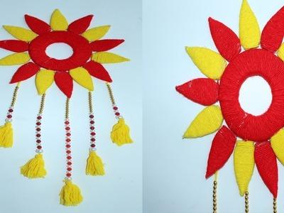 Wool Craf Ideas !! DIY Room Decor !! DIY Easy Woolen Flower Wall Hanging!! Best Out of Waste Toran