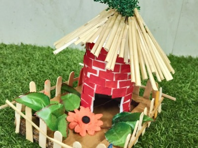3D Hut Model For School Project From Waste Material | Best Out Of Waste | CraftLas