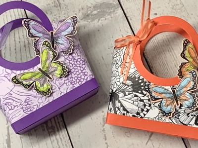 3D Tote Bag using Stampin' Up! Botanical Butterfly Designer Paper