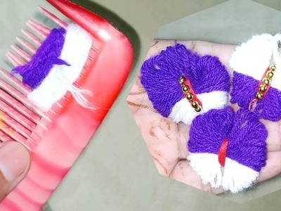 Amazing Flower Crafts Ideas with Woolen yarn - Easy Trick -Hand Embroidery - Wool Thread Design