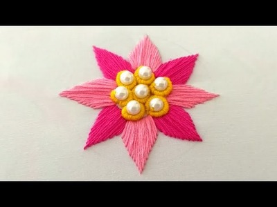Beautiful hand embroidery flower design for dress or sari || bullion knot embroidery flower design