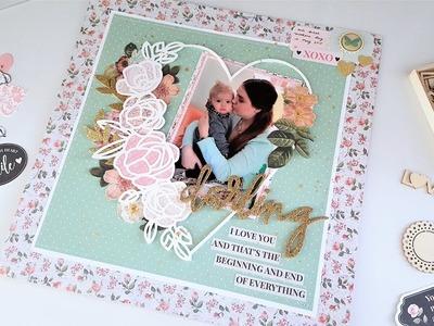 Darling I Love You 12x12 Scrapbook Layout – Kaisercraft.Festive Friday Challenge