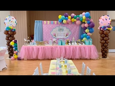 Decorate With Me | DIY Ice Cream Theme Party | Giant Balloon Ice Cream Cone | First Birthday Party