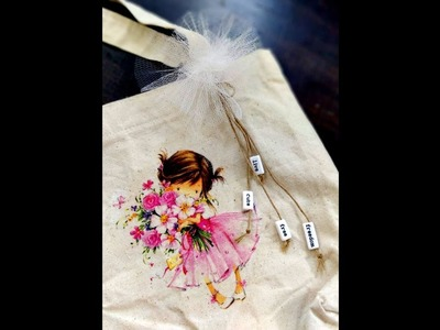 Decoupage on Tote Bag using brand zero products