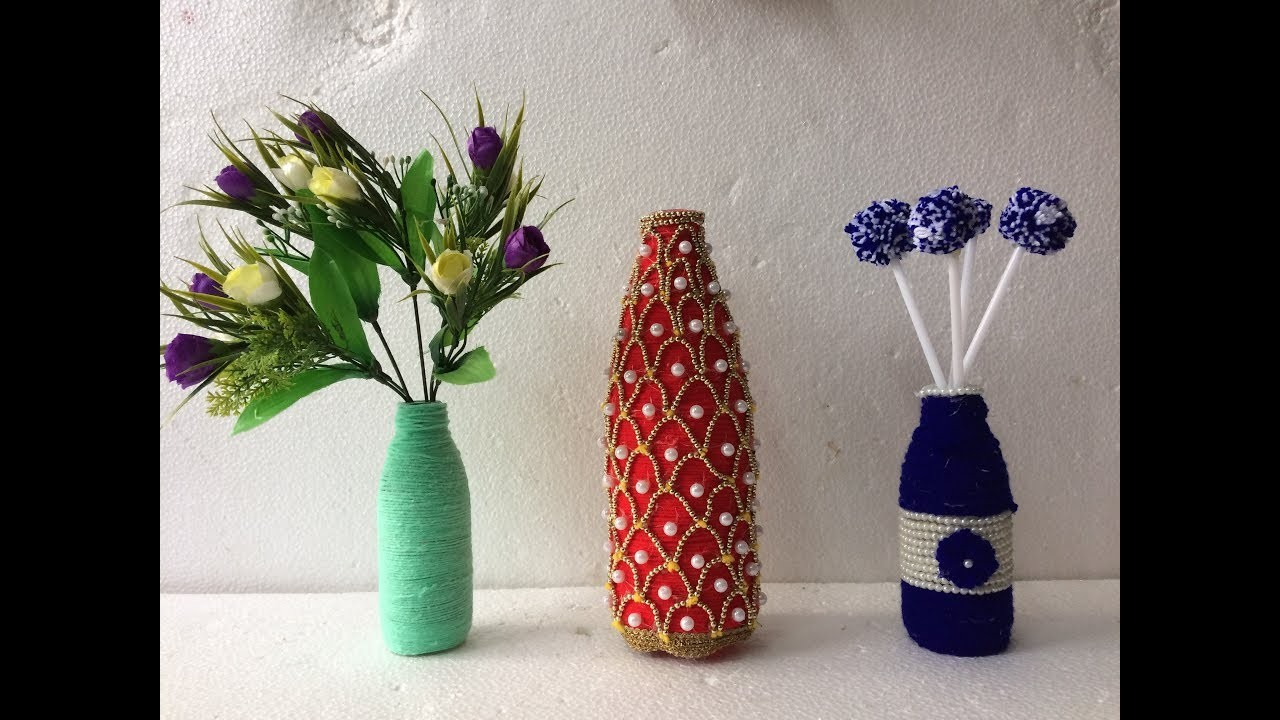 DIY | Bottle Craft Ideas With Wool | Waste Glass Bottle Decoration | *EASY & SIMPLE*