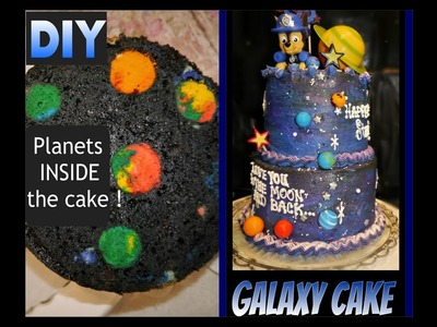 DIY Galaxy Planet cake with SURPRISE  planets INSIDE the cake!!!