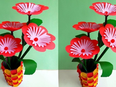 DIY:  Paper Flowers Handmade Crafts - Very Easy Paper Flower Decoration at Home