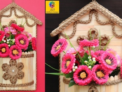 DIY Wall Hanging Flower Vase with Jute Rope & Popsicle sticks | Wall Decor Jute Craft Idea