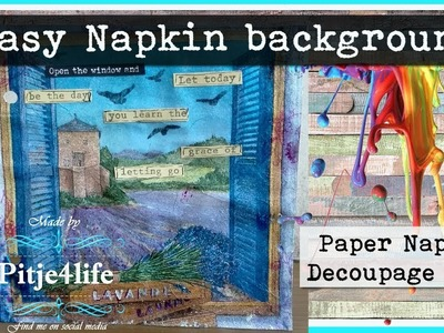 Easy Paper Napkin Mix Media Decoupage Art journal Card ~ Learn the grace of letting go
