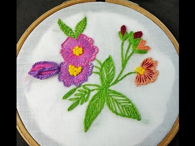 Hand Embroidery | Brazilian Flower Embroidery | Fantasy Flower Embroidery | Embroidery Tutorial