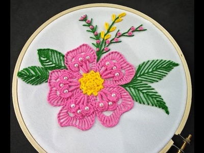Hand Embroidery | Fantasy Flower Stitch | Flower Embroidery Tutorial | Hand Embroidery For Beginners