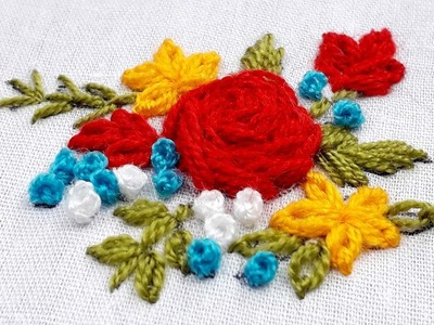 Hand embroidery flower design for dress.