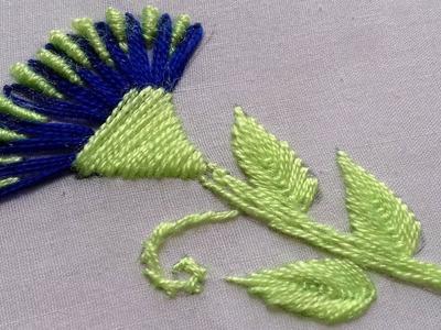 Hand Embroidery: Lazy Daisy & Brazilian stitch design tutorial.