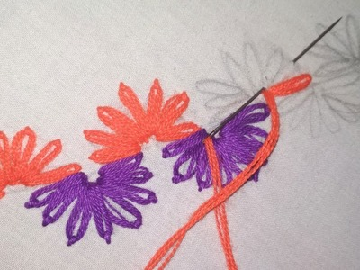 Hand Embroidery   Lazy Daisy Stitch with French Knot   Decorative Border Line Design