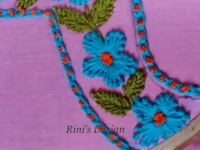 Hand embroidery new dress neck design stitch tutorial,Girls dress neck drawing and embroidery