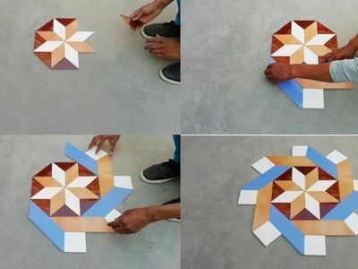 How to make 3d  parallelonram triangle center floor design