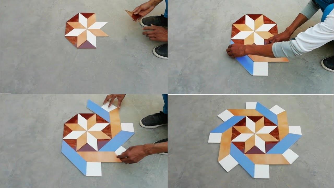 How to make 3d  parallelonram triangle center floor design