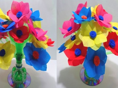 How to Make Colourful Shopping Bag flowers || Reuse of Plastic Bottle || DIY Shopping Bag Flowers
