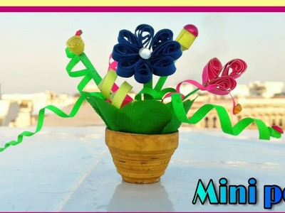 How to make mini 3d quilling flower pot ; home decoration idea