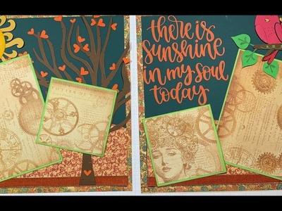 Love Birds Cricut Scrapbook Layout