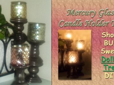 Mercury Glass Trio Multi-Level Candle Holder Set Dollar Tree DIY