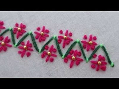 Modified hand embroidery, flower stitch