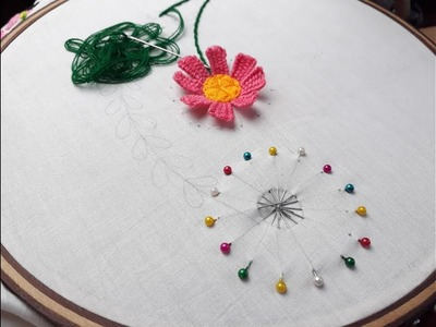 New pin trick amazing sewing trick | Hand embroidery flower trick