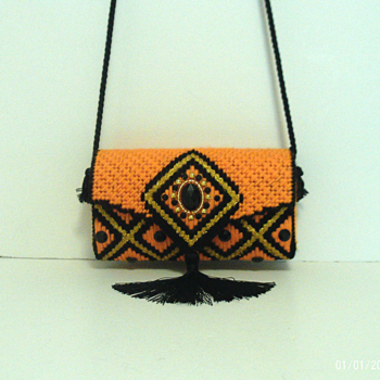 Orange,Black & Gold Jeweled Clutch