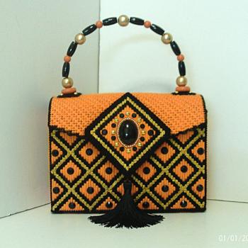 Orange,Black & Gold Jeweled Handbag