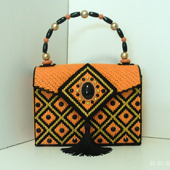 Orange,Black & Gold Jeweled Handbag