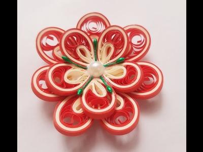 Quilling 3D flower tutorial. Tutorial floare quilling 3D