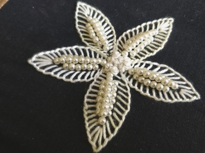 Simple Beaded Flower Design (Hand Embroidery Work)