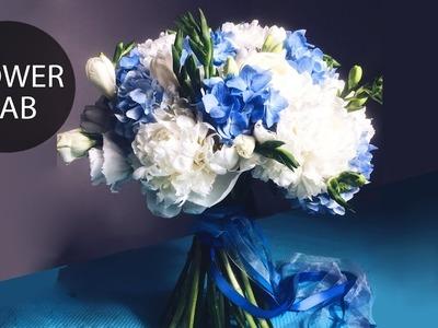 Wedding bouquet with Blue Hydrangea   DIY Wedding bouquet