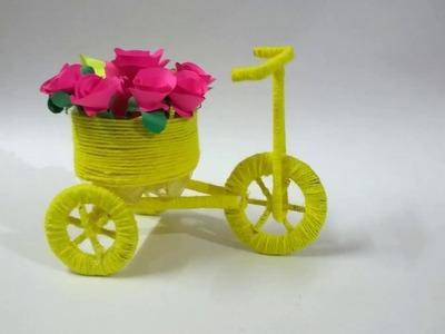 #woolencrafts#diyprojects   Diy Bicycle Cardboard & wool   Home Decor   ssartscrafts-nanduri lakshmi