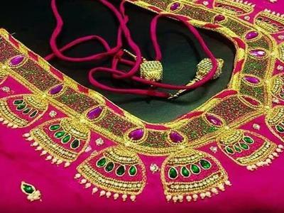 Amazing Aari Embroidery Work Blouse Designs For Wedding Pattu Sarees   Blouse Design For Silk Saree