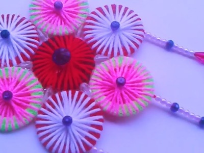 AWESOME WALL HANGING TORAN FROM HAIRBANDS   OLD BANGLES REUSE IDEA   HAIRBAND CRAFT   HOME DECOR