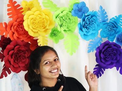 Birthday Decoration Ideas - Giant Paper flower easy wall decoration ideas