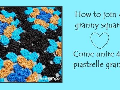 Come unire 4 piastrelle granny (How to join 4 granny squares) tutorial