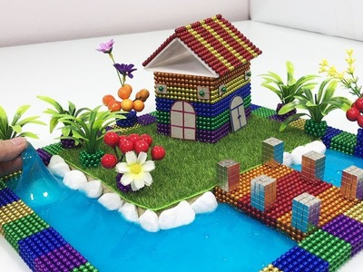 DIY - How To Make House Has a River Surrounded with Magnetic Ball and Slime