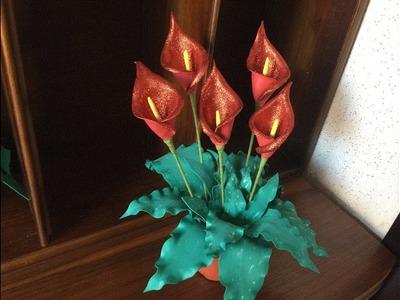 DIY: How to make this Beautiful plant with foam sheets. como hacer El Lirio Cala en  GomaEVA