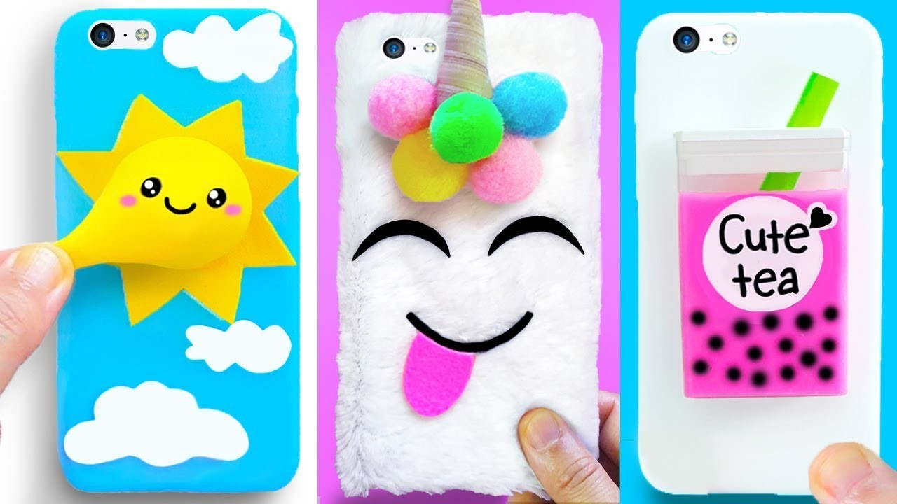 DIY PHONE CASES (Stress Relievers) | Easy & Cute Phone Projects & iPhone Hacks