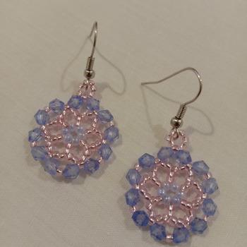 Handmade Blue Pink Earring